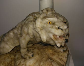 Large Art Deco alabaster lamp of a lion with glass eyes circa 1930s