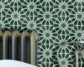 ZAIDA Moroccan Hexagon Tile Stencil - Floor Wall Furniture Tile Stencil - ZAID01