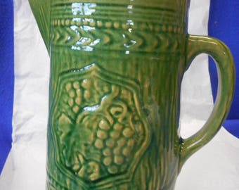 "Green Stoneware Green Grape Pitcher, 8-1/4"" Tall"