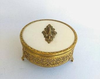Vintage Gold Jewelry Casket  Filigree 24KT Gold Plate Round Glass Jewelry Box- Ormolu Dresser Box- Hollywood Regency Box -