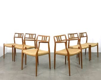 Set of Six 6 Niels Moller Teak Woven Dining Chairs 1960's