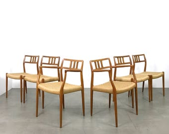 Set of Six 6 Niels Moller Teak Paper Cord Dining Chairs 1960's