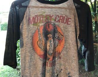 80s Motley Crue vintage band t-shirt Allister Fiend logo design Shout At The Devil Tour