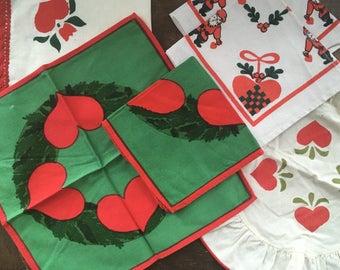 Christmas napkin Set of 6 Swedish napkins lot Scandinavian Christmas