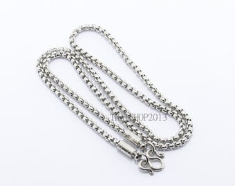 "Stainless steel necklace ,1 hook.(Size : 4 mm. x 28"")(No.64)"