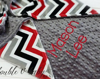 Personalized Minky Baby Blanket, Boy Baby Blanket, Red and Black Blanket, Arizona Cardinals Blanket, Case IH Baby , Stroller Blanket