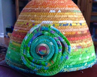Tropical Delight Round Fabric Covered Clothesline Basket