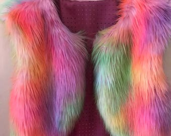 Rainbow Faux Festival Fur Vest festival fashion coachella burning man vest coat ladies mens girls vest photo prop Shrug Cover Up Stole Wrap