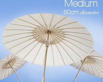 Medium 60cm - Set of 5 White Paper Parasols / Paper Umbrella - DIY Wedding Accesories, Party Decor, Bridal, Baby Shower, Handicraft, Props