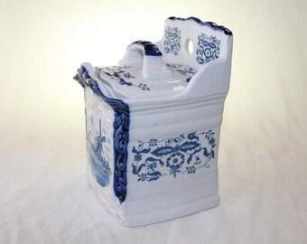 Blue and White Vintage saltbox Windmill Match Porcelain box kitchen decor