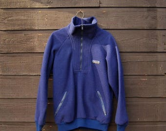 Summer SALE 80s Patagonia Fleece Jacket Mens Womens Large XL Navy Half Zip Vintage Patagonia Pullover, Hiking Camping Outdoors Fleece Patago