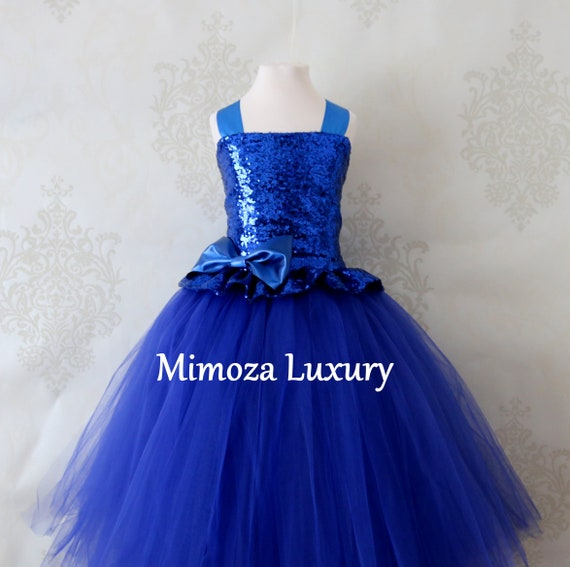 Royal Blue Sequin Flower Girl Dress, blue sequin bridesmaid dress,  royal blue flower girl gown, bespoke girls dress, tulle princess dress