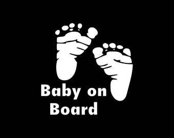 Baby On Board Decal, Baby On Board Car Decal, Baby On Board Feet Decal, Baby Car Decal, Cute Baby On Board Decal Vinyl Sticker