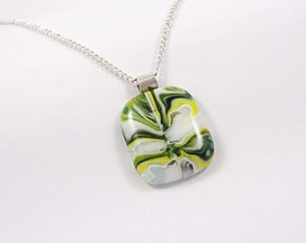 Unique Green Puddle Fused Glass Pendant - Fused Glass Jewelry - Glass Necklace - Gift for Her