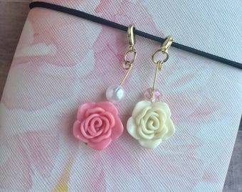 Soft White Rose and Pearl Traveler's Notebook Rose Charms