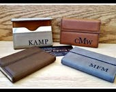 Business Card Holder, Leather,  Custom Engraved Boss Gift, Personalized Card Case Corporate Gifts Fathers Day Gift, Groomsmen Gifts, Husband