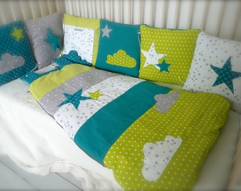 tour de lit chouettes et toiles rose clair et gris. Black Bedroom Furniture Sets. Home Design Ideas