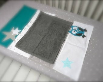 Mattress cover diaper owls and stars (Peacock blue, turquoise, gray)