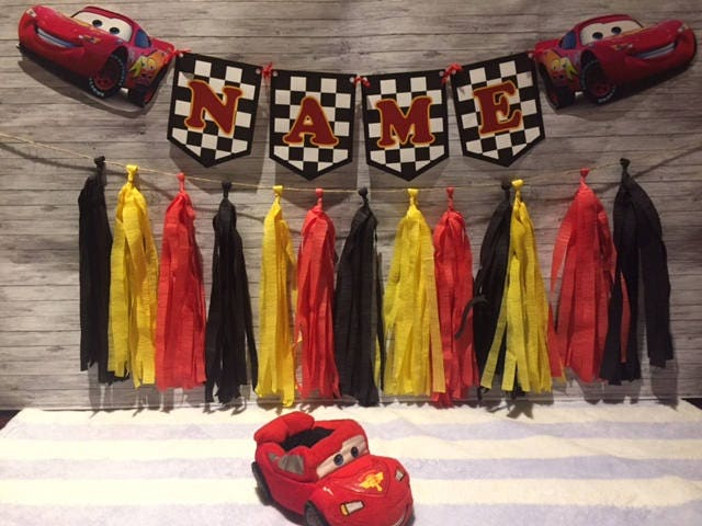 Disney Cars Lightning McQueen Birthday Party Wall Tassel Garland