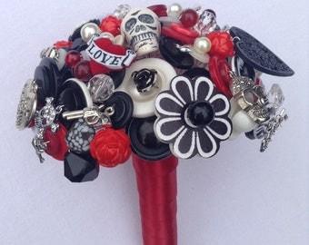 Rockabilly  Button Bouquet.   Alternative Wedding Bouquet.  Keepsake Bouquet.   Bridal Bouquet