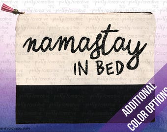 Namastay In Bed Two Tone Makeup/Travel Cosmetic Bag with Black Canvas Trim -  Black, Silver or Gold Glitter