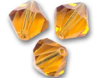 20 Swarovski bicones 4mm topaz crystal beads