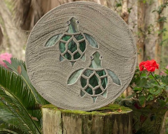 "Baby Sea Turtle Hatchlings Stained Glass Stepping Stone 18"" Diameter Perfect for Your Garden Patio or a Path to Your Backyard Fish Pond #812"