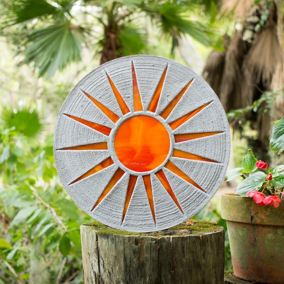 """Bright Orange Sun Stepping Stone 18"""" Diameter Made of Concrete and Stained Glass Perfect for Your Garden Patio or Back Yard Pool Pond #721"""