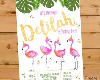 Flamingo Invitation, Flamingo Party Invite, Let's Flamingle Invite, watercolor, Flamingo Birthday Invite, Let's Flamingle Party, Tropical
