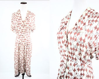 1950's Atomic Starburst Brown Chiffon Short-sleeve Button-up Dress