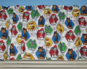 PAW PATROL Red White Green Blue Handmade Kid's Window Valance