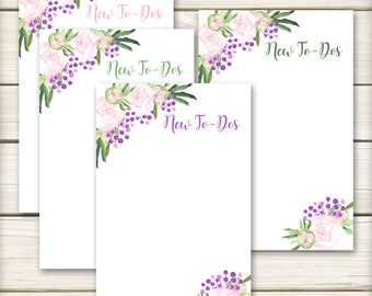 To Do List Notepads - Watercolor Peonies - To Do Lists - 25 pages