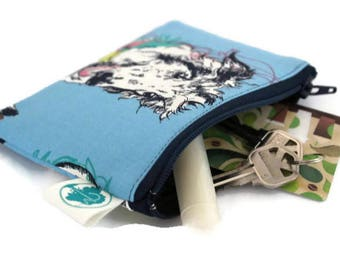 Coin Purse - Coin Bag - Change Purse - Small Cosmetic Bag - Zipper Pouch - Change Pouch in Scribble Dog
