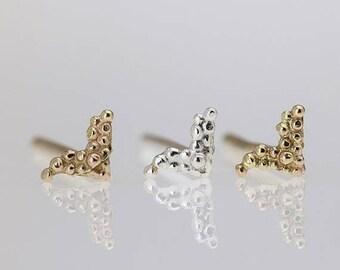 SALE15% Tiny Earrings, Small Stud Silver Earrings, Tiny Post Earring, Indian style earrings, Small Stud, Bird Shaped Earrings, Set of 3