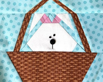 Bunny In A Basket Paper Pieced Block Pattern in PDF