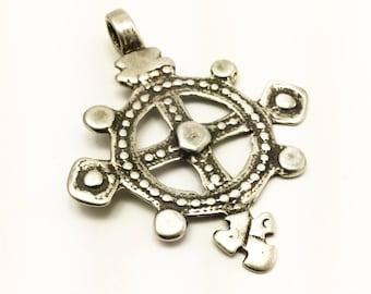 Silver Ethiopian Coptic Cross Pendant , 52x66mm, African cross pendant, jewelry supply