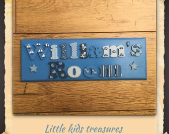 """DOUBLE WORD BESPOKE boys personalised name plaque with cute lettering! 12x4"""". Little kids treasures"""