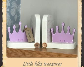 PRINCESS CROWN chunky wooden bookends (personalised) - Little kids treasures