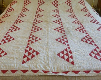 Turkey Red Pyramids c. 1900 Quilt - FREE SHIPPING