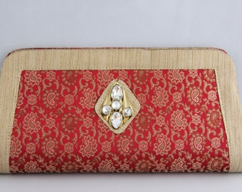 Red Clutch with Buti Design