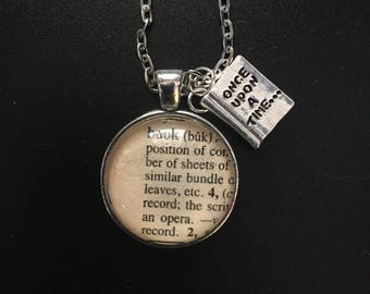 Book - Book Page Necklace with Book Charm