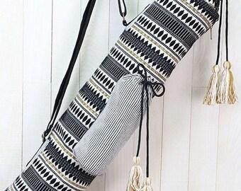 Black & Gold Tribal Stripe Yoga Mat Bag