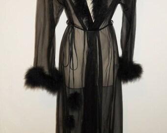 Vintage Black Chiffon Peignoir ~ 1970's Vintage Negligee ~ Coquette Peignoir ~ Marabou Trim & Pom Poms ~ Sheer Black Chiffon Peignoir ~