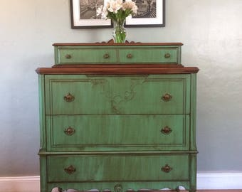 Two Tone Antique Highboy Chest of Drawers (Teal)