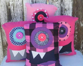 Critter Monster Pillows, Stuffed Monster Toys, stuffed animals- Pink Monster