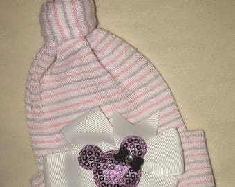 Newborn Hospital Hat. Stocking Newborn Hospital Hat with white bow and lavender Mouse Baby's 1st Keepsake! Perfect for your new addition