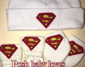 SUPER Hero Newborn Hospital Hat! 1st Keepsake! 1st Hat! Newborn Hospital Hat! Great Gift! Super Cute! O-6 Months!