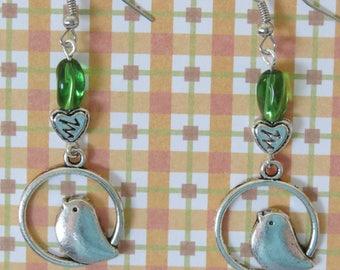 Bird of my heart Silver earrings