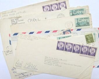 Vintage envelopes: set of 8 1950s used envelopes with US stamps & postmarks. Paper ephemera for mixed media, scrapbooks, collage OT591