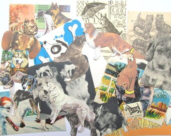 Vintage dog paper craft kit: pack of 30 mixed pieces. Ephemera pack for paper craft, scrapbook, collage, smash book, card making EP614